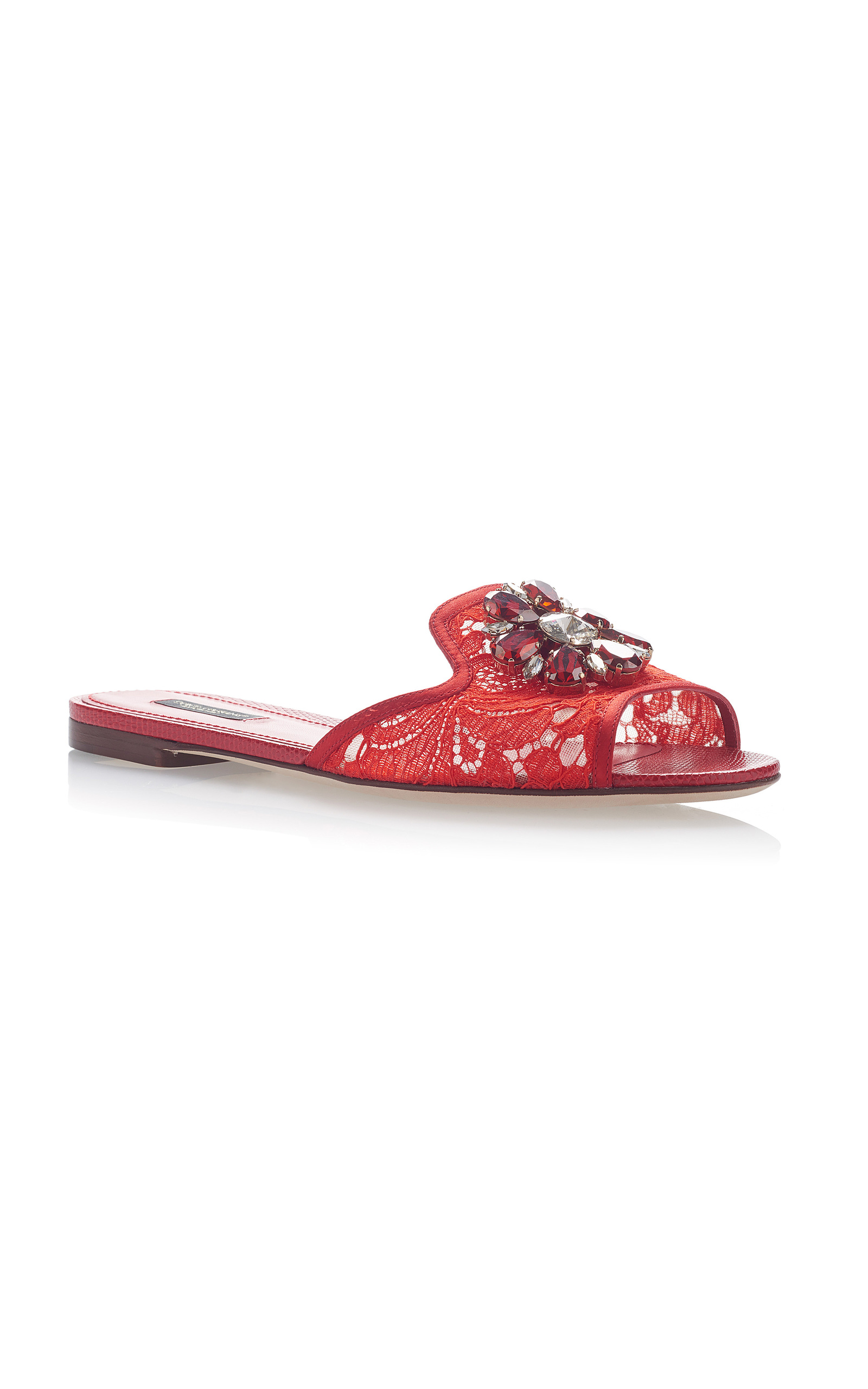 Dolce & Gabbana Embellished Leather-Trimmed Lace Slides