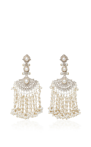 Medium sanjay kasliwal white indorussian pearl and diamond earrings