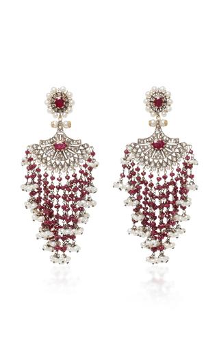 Medium sanjay kasliwal red indorussian ruby and pearl earrings