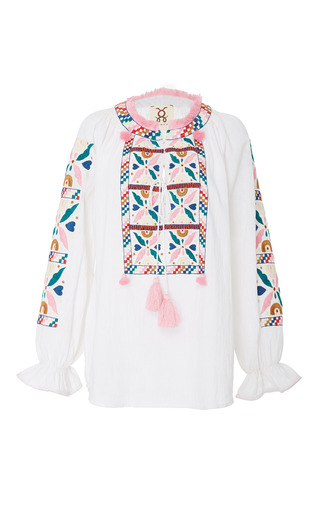 Medium figue white lou lou embroidered clean white top