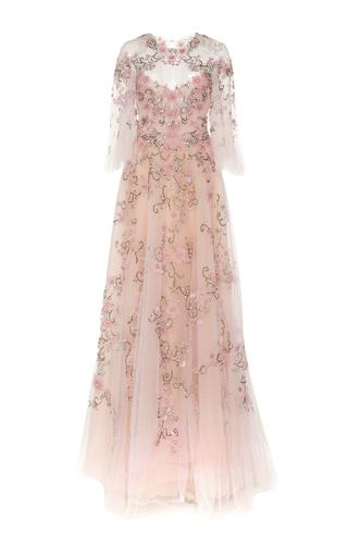 Medium marchesa pink flutter sleeve embroidered gown