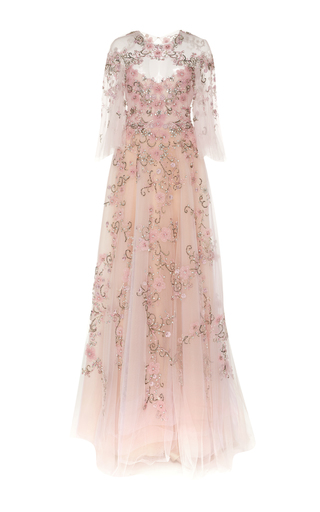 Medium marchesa pink flutter sleeve embroidered gown
