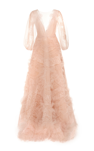 Medium marchesa pink ruffle tulle v neck gown