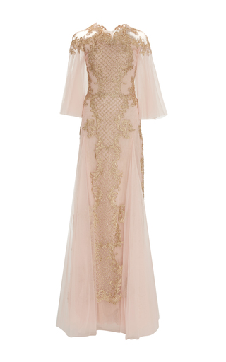 Medium marchesa pink flutter sleeve embroidered gown 2