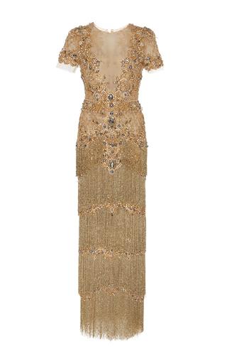 Medium marchesa gold embellished column gown