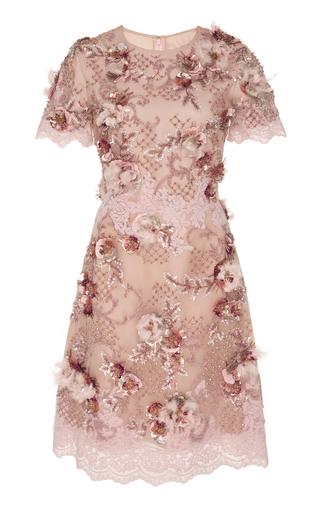 Medium marchesa pink floral embellished cocktail dress