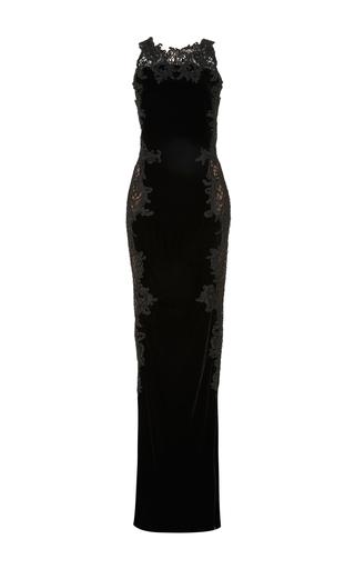 Medium marchesa black velvet embroidered gown