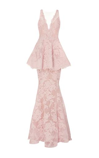 Medium marchesa pink lace peplum gown