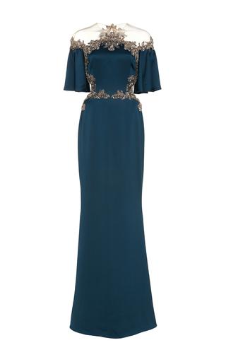 Medium marchesa blue antique silver embroidered gown