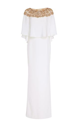 Medium marchesa white caplet column gown