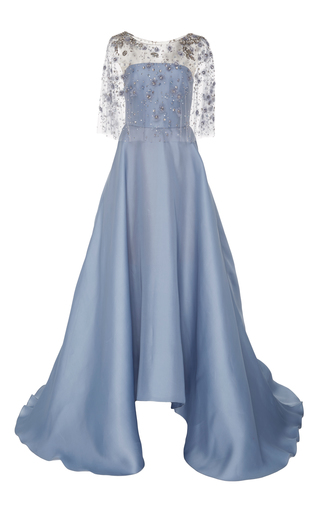 Medium marchesa blue embroidered capelet gown