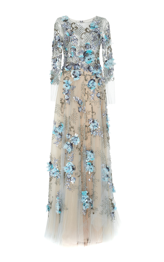 Medium marchesa blue embellished full length ball gown