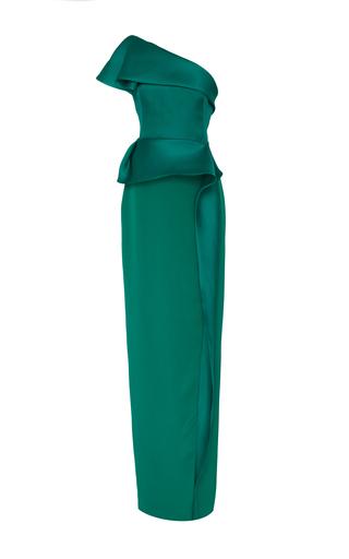 Medium marchesa green one shoulder column gown