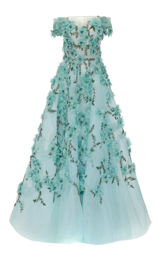 Medium marchesa blue off the shoulder tulle ball gown