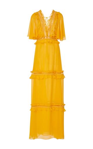 Medium sachin babi yellow blanche ruffle trim floor length gown