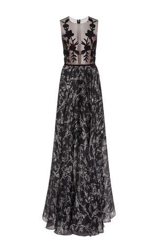 Medium sachin babi print susie sleeveless floor length gown