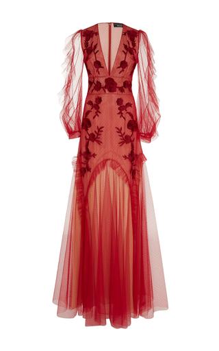 Medium sachin babi red birdie floral embroidered gown