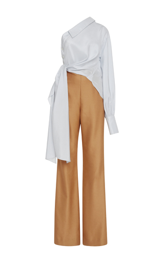 Medium jonathan simkhai multi silk stripe one shoulder jumpsuit