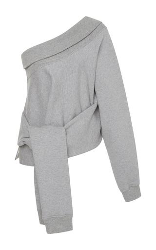 Medium jonathan simkhai grey lace up one sleeve sweatshirt