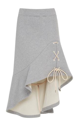 Medium jonathan simkhai grey lace up jersey slit skirt