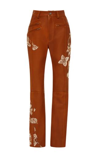 Medium jonathan simkhai brown natural lether embroidered pants