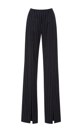 Medium jonathan simkhai stripe wool pinstripe front slit pants