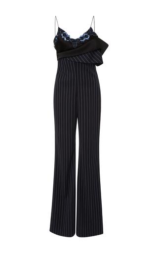 Medium jonathan simkhai stripe wool pinstripe drop shoulder jumpsuit