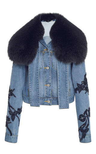 Medium jonathan simkhai blue embroidered denim fur collar jacket