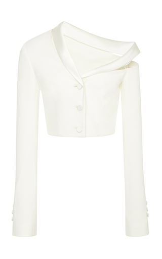 Medium jonathan simkhai white classic stretch crepe combo crop jacket