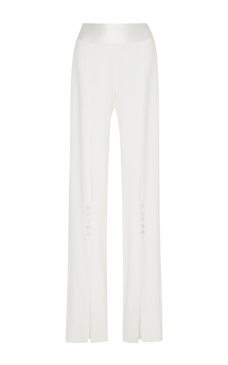Medium jonathan simkhai white classic stretch crepe combo slit pants