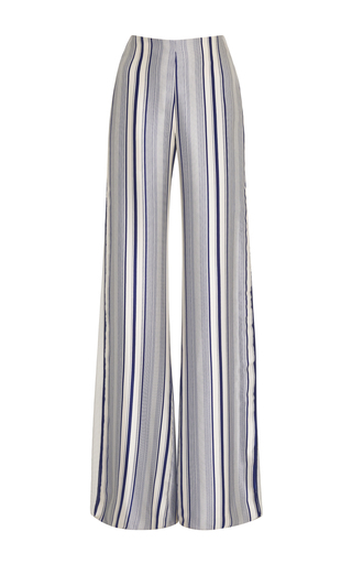 Medium jonathan simkhai black white multimedia linear print side slit pants