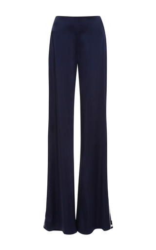 Medium jonathan simkhai navy solid sateen button pants