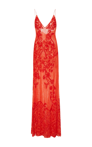 Medium jonathan simkhai red piled sequin maxi slip dress