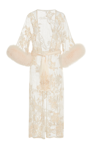 Medium jonathan simkhai pink crystal lace mini fur cuff robe
