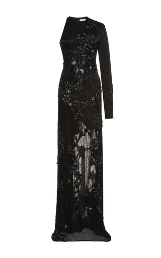 Medium jonathan simkhai black thread embroidered one sleeve gown