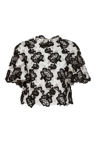 Medium monique lhuillier black white floral embroidered short sleeve top