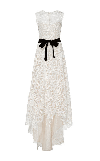 Medium monique lhuillier neutral embroidered sleeveless high low gown
