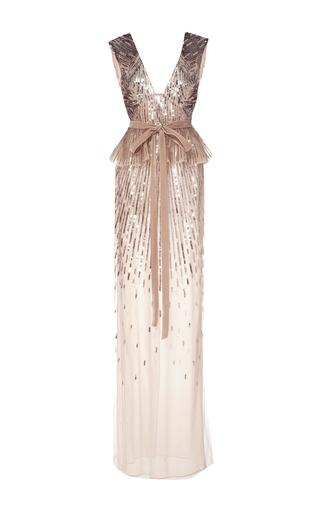 Medium monique lhuillier pink embellished peplum gown