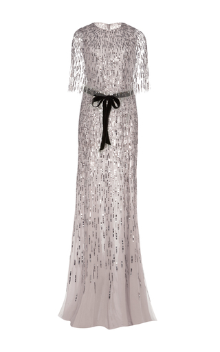 Medium monique lhuillier silver embroidered gown with integral cape