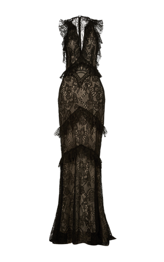 Medium monique lhuillier black sleeveless lace ruffle gown