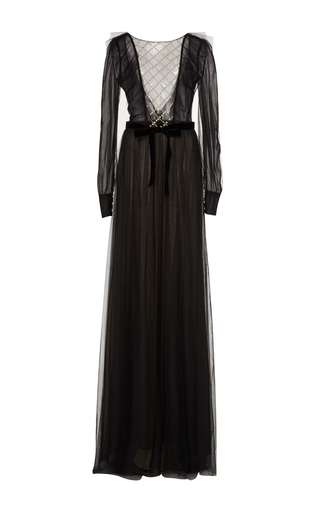 Medium monique lhuillier black long sleeve pearl embellished gown