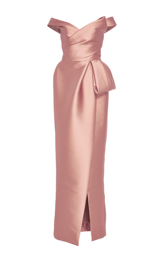Medium monique lhuillier pink off the shoulder tulip gown