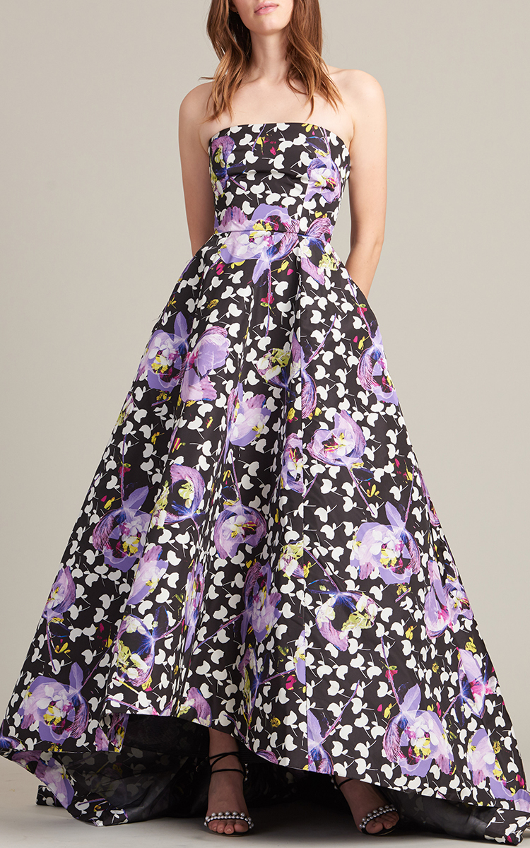 6d01db2f9 Strapless Floral High Low Gown by Monique Lhuillier