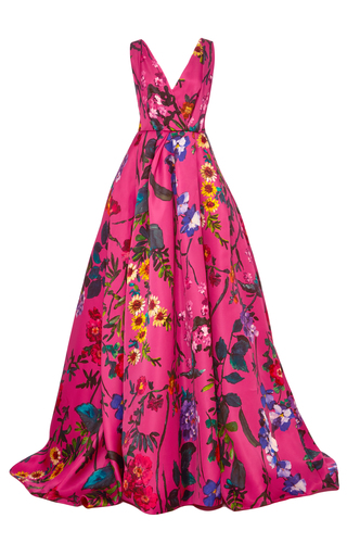 Medium monique lhuillier pink sleeveless floral ball gown