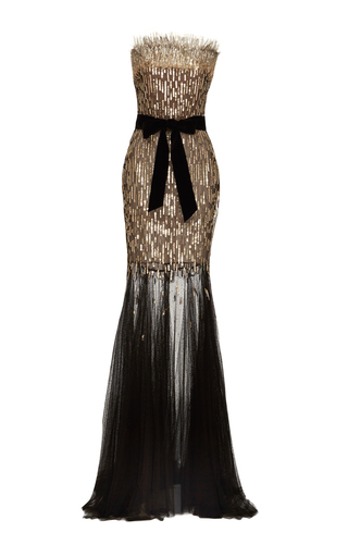 Medium monique lhuillier black strapless sequin column gown