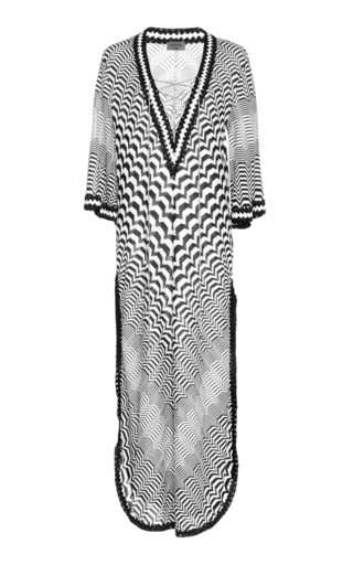 Medium missoni mare black white greca lace up crochet kit kaftan