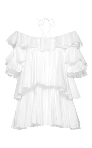 Medium tome white short sleeve ruffled blouse 2