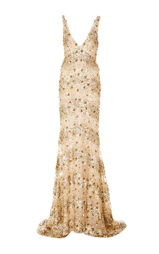 Medium naeem khan gold embellished v neck gown