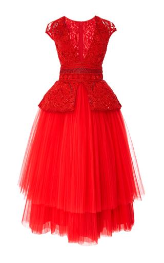 Medium naeem khan red tea length cocktail dress