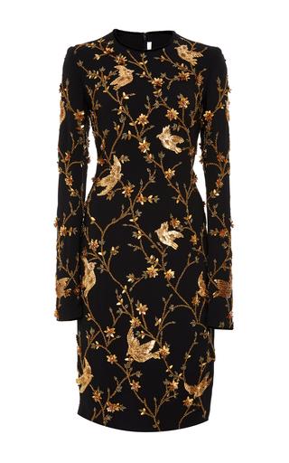 Medium naeem khan black long sleeve bird embellished cocktail dress